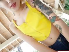 Tiny teen blonde Dakota Skye extreme deep anal fuck