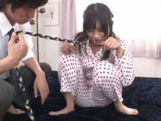 Asian bitch Aika Hoshino on a leash gets her dirty asshole stuffed