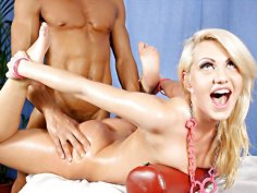 Boobs massage for blonde bimbo