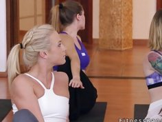 Yoga coach bangs two lesbian hotties