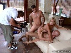 Whorable blondie Szilvia Lauren experiences a tough double cock penetration