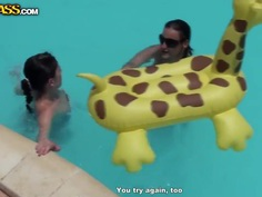 Bunch of chubby female asses swim in the pool