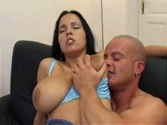 Lovely hot brunette Celine rides and sucks a cock perfectly well