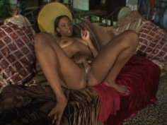 Sag tits of black nympho slap dude's face as she hops on his cock