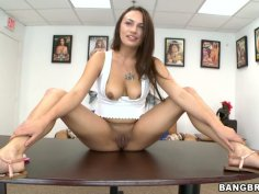 Hot and sexy Nova Brooks fingers her pussy and gives a head to an interviewer on a casting