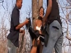 Rough outdoor fucking and spanking with busty African slut