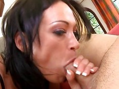 Gal is pleasuring a giant rod with oral job